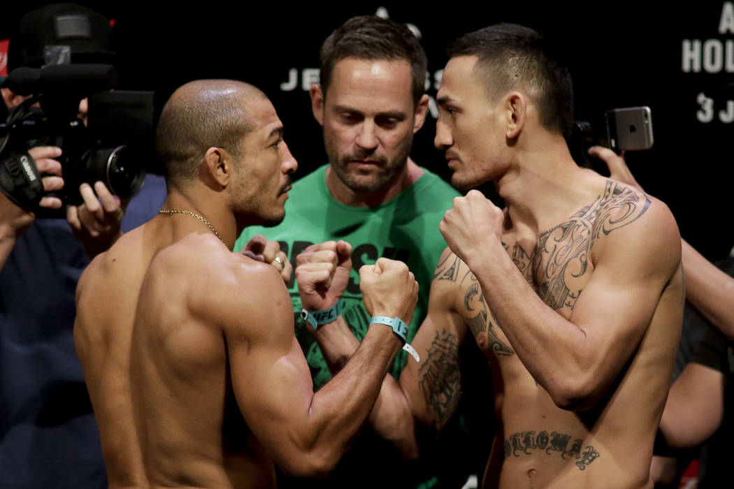 Rio de Janeiro (June 2, 2017): Jose Aldo, left, and Max Holloway, right, face off during the weigh-in Friday for UFC 212 on Saturday in Rio de Janeiro. Photo: Luciano Belford/The Associated Press
