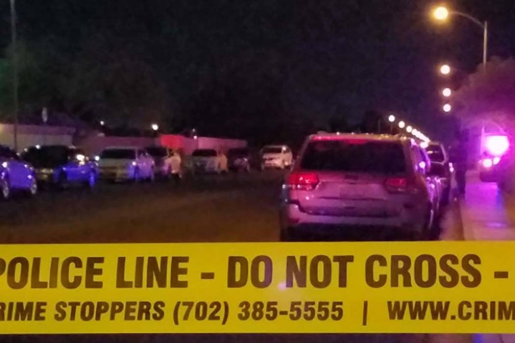 Las Vegas police confirmed that police shot and killed a man late Thursday in the 1700 block of Eddingham Court, near Owens Avenue and Mount Hood Street. (Mike Shoro/Las Vegas Review-Journal)