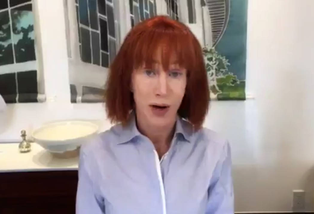 Comedian Kathy Griffin took to Twitter to apologize for participating in a photo shoot that featured her holding a severed head resembling President Donald Trump, May 31, 2017. (Twitter @KathyGriffin)