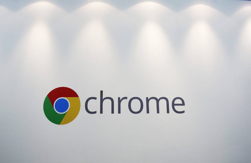 The Chrome logo displayed at a Google event, in New York on Oct. 8, 2013. (Mark Lennihan/AP)