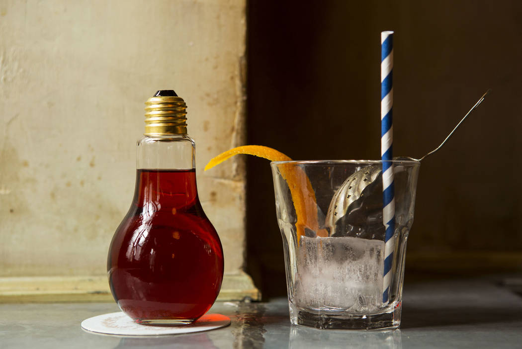 Oak & Ivy and Velveteen Rabbit are serving the Red Light Negroni in a light bulb-shaped vessel. Lucas Bols Galliano USA