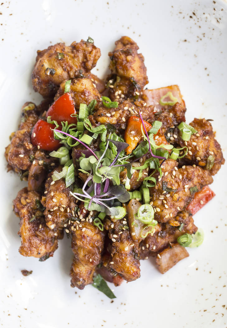 Chili chicken with peppers, onions, Indo-Chinese soy, garlic and chili on Thursday, June 8, 2017, at Turmeric, in Las Vegas. Benjamin Hager Las Vegas Review-Journal @benjaminhphoto