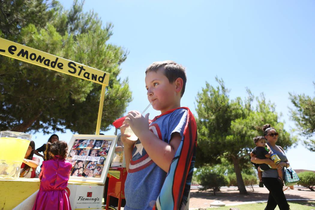 Adam Kemper, 9, during a fundraiser for Alex's Lemonade Stand Foundation, a national childhood cancer foundation, at Sunset Park in Las Vegas, Sunday, June 4, 2017. (Elizabeth Brumley/Las Vegas Re ...
