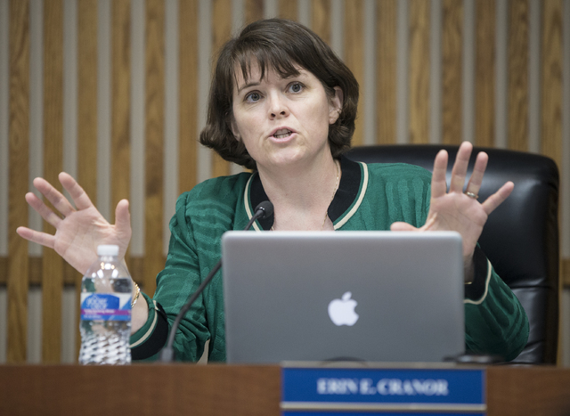 Erin E. Cranor, a member of the Clark County School Board, District G, addresses the crowd at a Thursday, Jan. 26, 2017 meeting at the Edward Greer Education Center, in Las Vegas. (Benjamin Hager/ ...