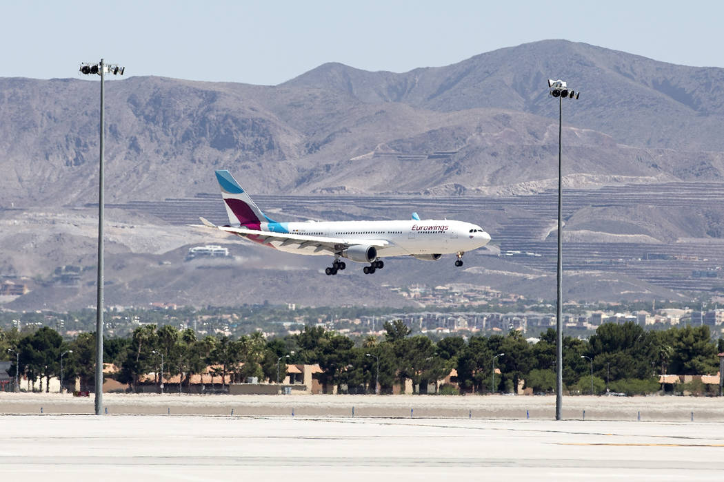 The first Eurowings flight, that few direct from Cologne, Germany, lands at McCarran International Airport on Friday, June 2, 2017 in Las Vegas.  Bridget Bennett Las Vegas Review-Journal @bridgetk ...