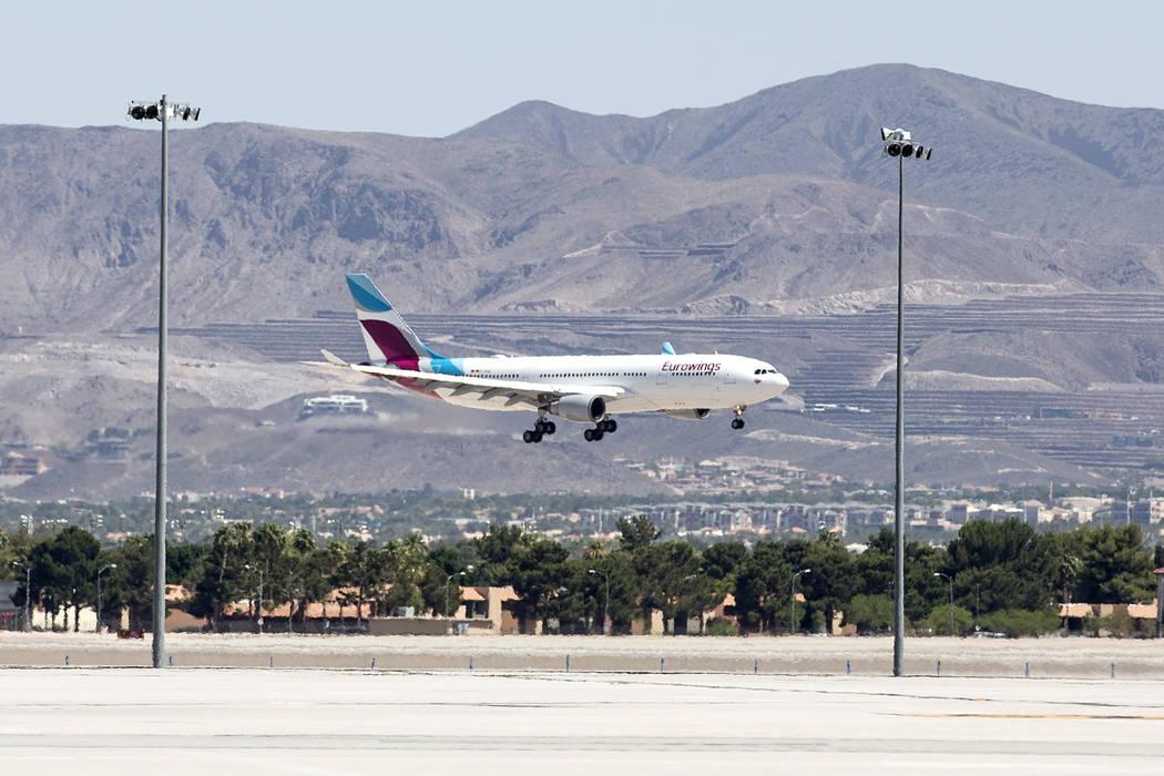 The first Eurowings flight, that few direct from Cologne, Germany, lands at McCarran International Airport on Friday, June 2, 2017 in Las Vegas.  Bridget Bennett Las Vegas Review-Journal @bridgetk ...