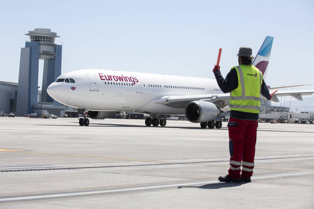 The first Eurowings flight that few direct from Cologne, Germany taxis at McCarran International Airport on Friday, June 2, 2017 in Las Vegas.  Bridget Bennett Las Vegas Review-Journal @bridgetkbe ...