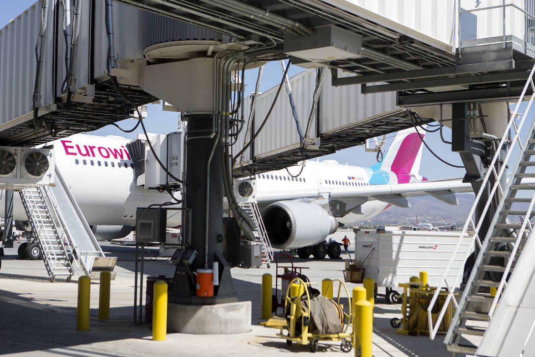 The first Eurowings flight that few direct from Cologne, Germany pulls up to a gate at McCarran International Airport on Friday, June 2, 2017 in Las Vegas. Bridget Bennett Las Vegas Review-Journal ...