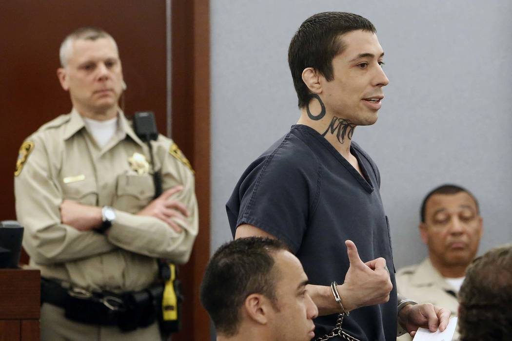 War Machine, also known as Jonathan Koppenhaver, addreses the court before being sentenced to 36 years to life in prison at the Regional Justice Center on Monday, June 5, 2017, in Las Vegas. (Bizu ...