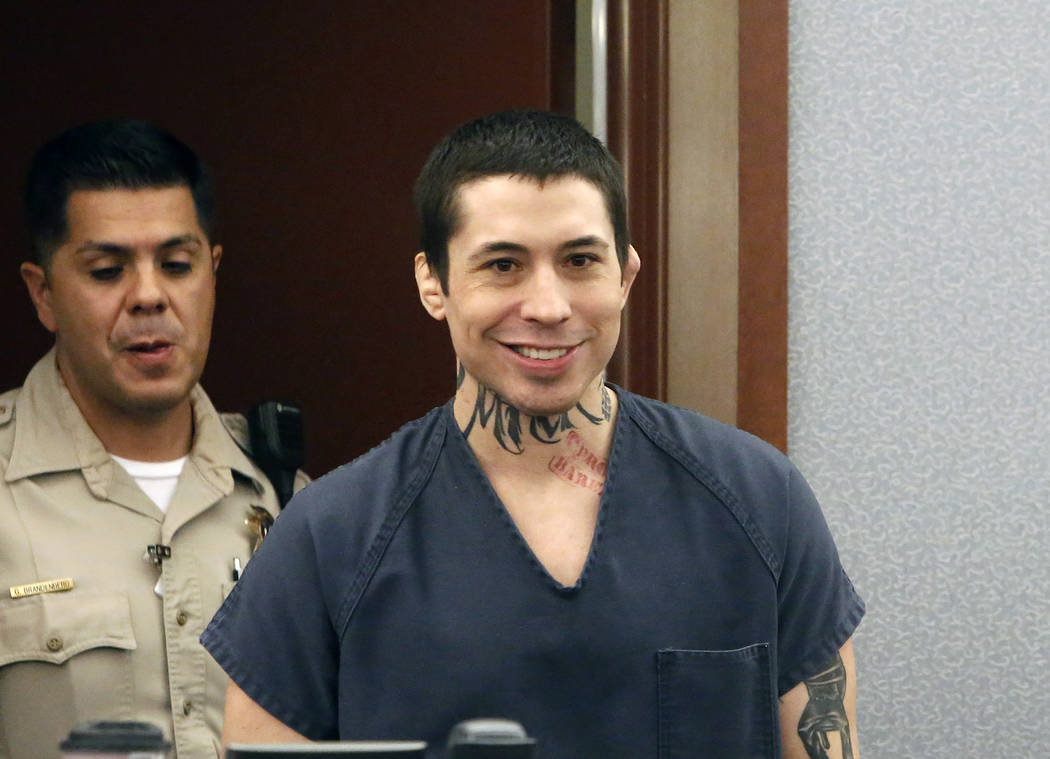 War Machine, also known as Jonathan Koppenhaver, enters the courtroom at the Regional Justice Center on Monday, June 5, 2017, in Las Vegas. (Bizuayehu Tesfaye Las Vegas Review-Journal) @bizutesfaye