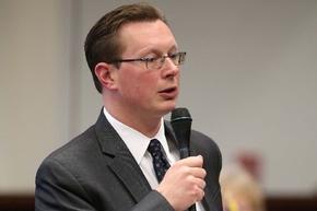 Sen. Ben Kieckhefer, R-Reno, speaks on the Senate floor Wednesday in Carson City. Las Vegas Review Journal file