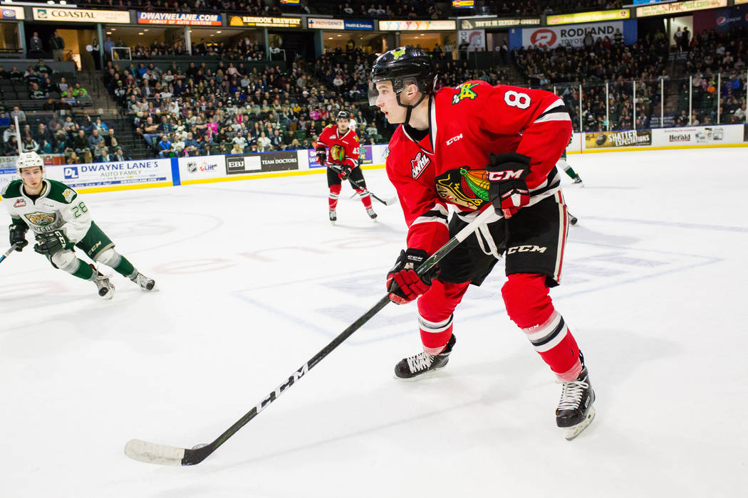 Portland Winterhawks forward Cody Glass (8) skates through the neutral zone against the Everett Silvertips on Friday, Jan. 27, 2017 at Xfinity Arena in Everett, Washington. Portland defeated Evere ...