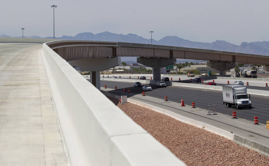 Construction continues on the flyover ramp that will link the southbound Airport Connector to the eastbound 215 Beltway in Las Vegas on Saturday, June 3, 2017. (Richard Brian/Las Vegas Review-Jour ...