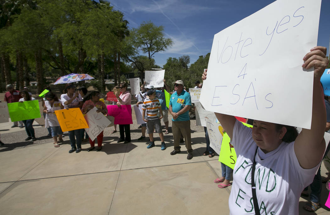 People hold signs as they participate in a rally supporting a measure for the Nevada Education Savings Account outside of the Grant Sawyer Building in Las Vegas on Saturday, June 3, 2017. Richard  ...