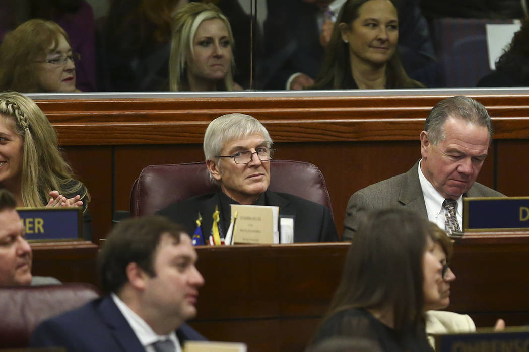 Assemblyman Skip Daly, D-Sparks, center, during Nevada Gov. Brian Sandoval's final State of the State address at the Legislative Building in Carson City on Tuesday, Jan. 17, 2017. (Chase Stevens/L ...