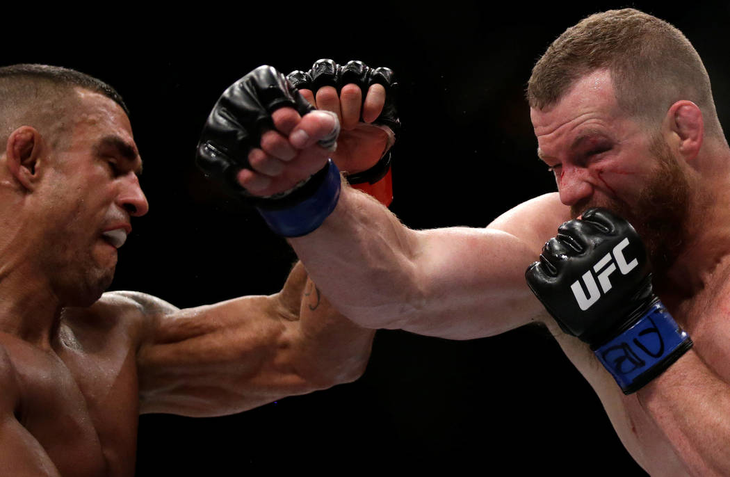 REFILE - CORRECTING TYPO IN MARTIAL MMA - Mixed Martial Arts -  UFC 212 - Jeunesse Arena, Rio de Janeiro, Brazil - 3/6/17 - Vitor Belfort (L) of Brazil and Nate Marquardt of US in action. REUTERS/ ...