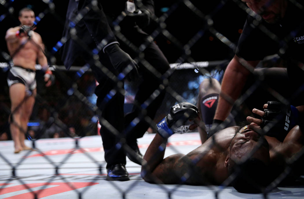 REFILE - CORRECTING TYPO IN MARTIAL MMA - Mixed Martial Arts -  UFC 212 - Jeunesse Arena, Rio de Janeiro, Brazil - 3/6/17 - Paulo Henrique (L) of Brazil and Oluwale Bamgbose of US react. REUTERS/R ...