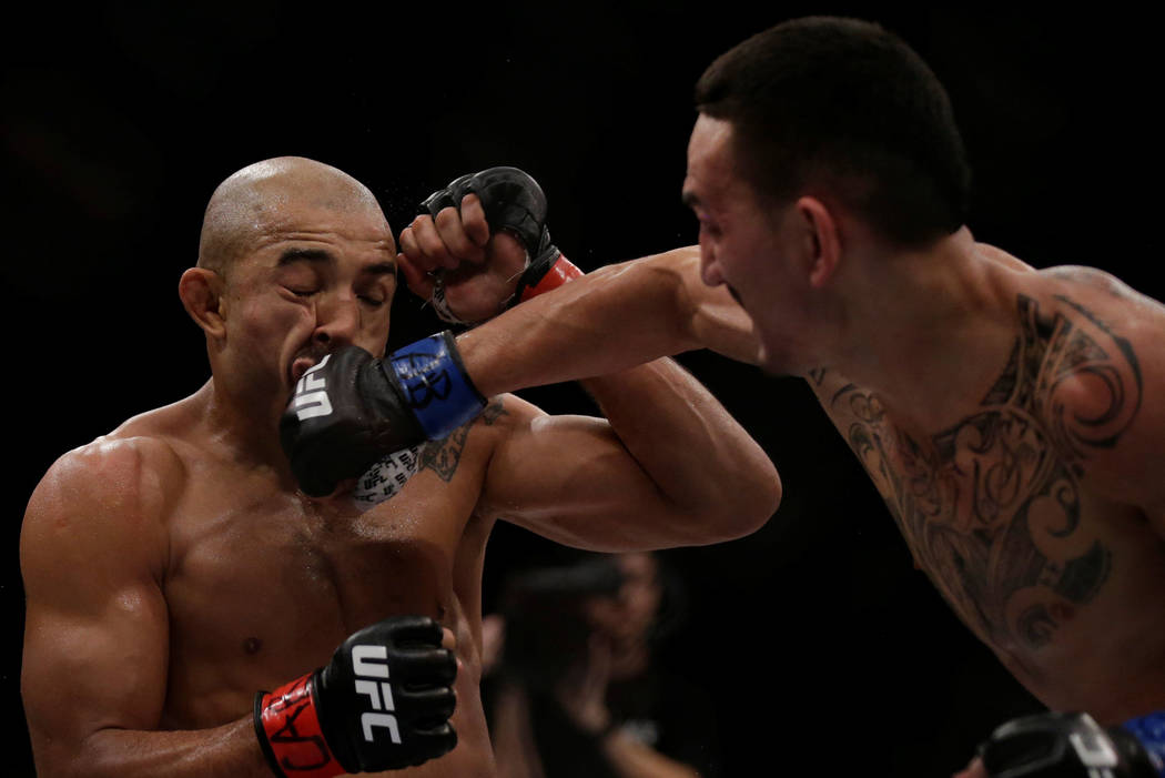 Rio de Janeiro, Brazil, June 3, 2017: Jose Aldo (L) of Brazil and Max Holloway of U.S. in action. REUTERS/Ricardo Moraes
