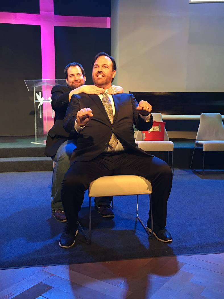 "Paul Mattingly seizes the moment -- and his comedy partner, Matt Donnelly -- during ""The Bucket Show"" at Art Square Theater on Wednesday, June 1, 2017. (John Katsilometes/Las Vegas Review-Journal) ..."