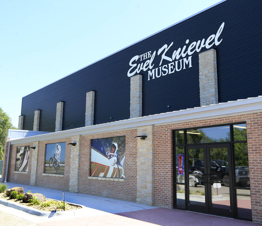 Double doors lead to the entrance of the new Evel Knievel Museum in Topeka, Kan., Friday, June 2, 2017. (AP Photo/Orlin Wagner)