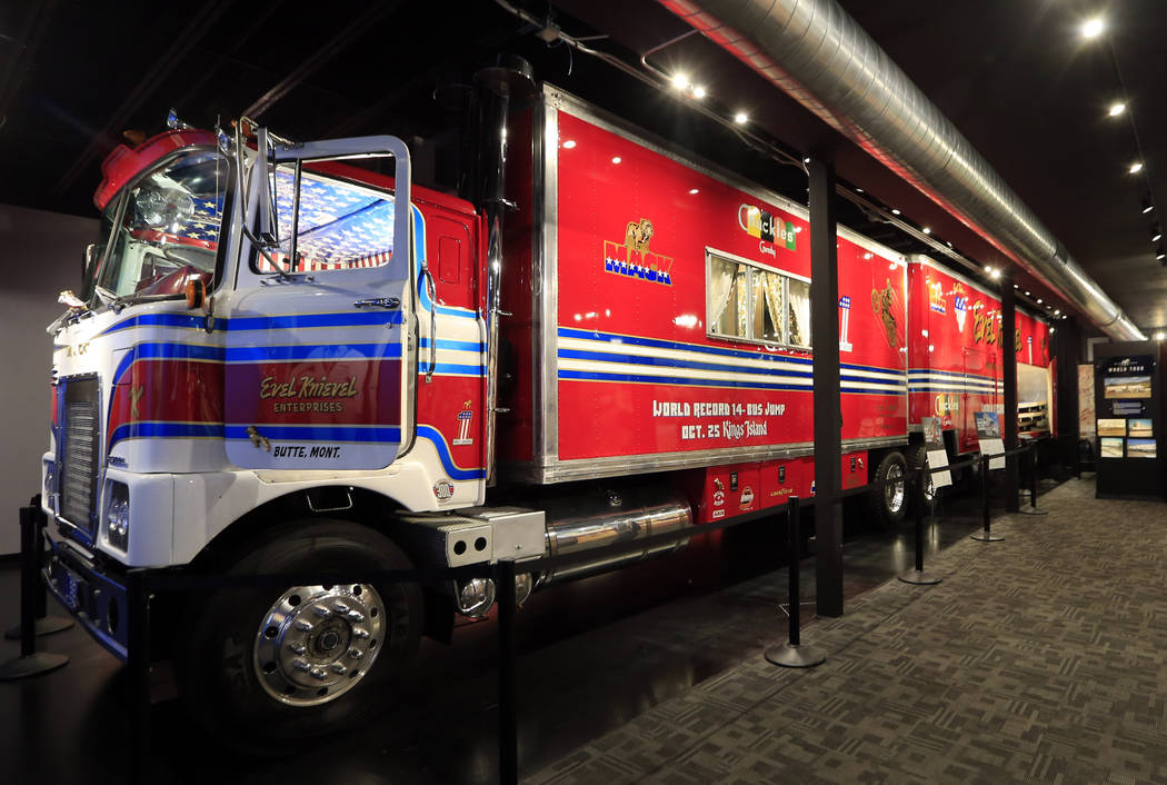 The restored custom Mack truck used by Evel Knievel is on the lower level of the Evel Knievel Museum in Topeka, Kan., Friday, June 2, 2017. (AP Photo/Orlin Wagner)