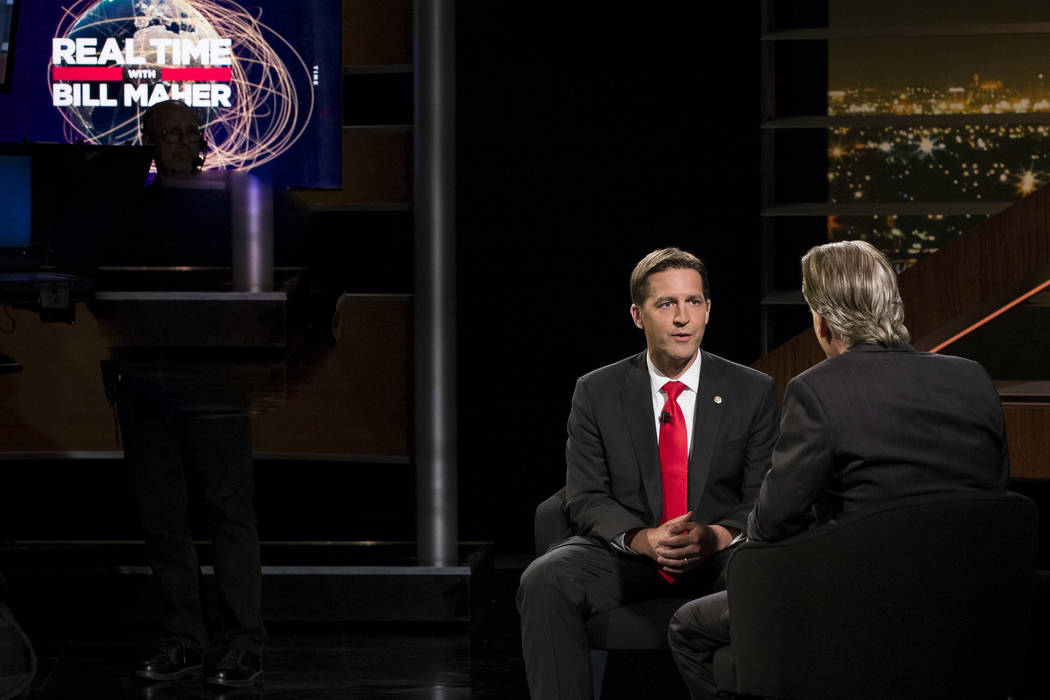 "Bill Maher, right, speaks with Sen. Ben Sasse, R-Neb, during a segment of his ""Real Time with Bill Maher,"" Friday, June 2, 2017. Maher is facing criticism for his use of a racial slur during a dis ..."