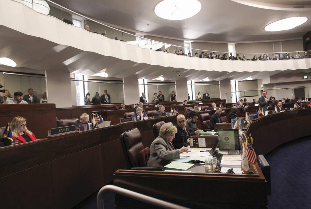 The Nevada Senate meets during the second to last day of the Nevada Legislature at the Legislative Building in Carson City on Sunday, June 4, 2017. Chase Stevens Las Vegas Review-Journal @cssteven ...