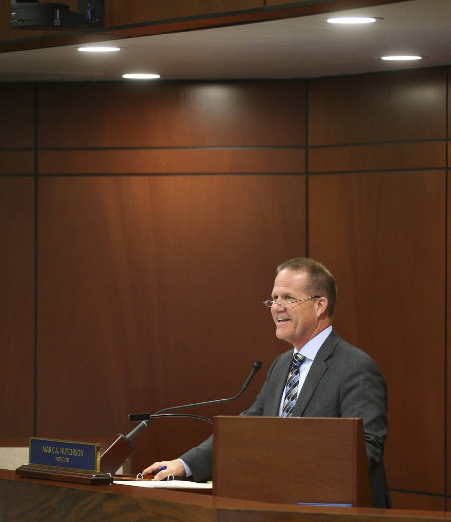 Lt. Gov. Mark Hutchison during the second to last day of the Nevada Legislature at the Legislative Building in Carson City on Sunday, June 4, 2017. Chase Stevens Las Vegas Review-Journal @cssteven ...