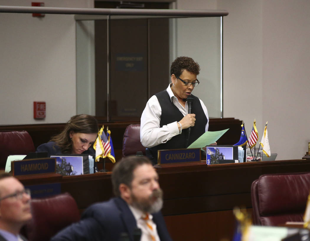 Sen. Pat Spearman, D-North Las Vegas, during the second to last day of the Nevada Legislature at the Legislative Building in Carson City on Sunday, June 4, 2017. Chase Stevens Las Vegas Review-Jou ...