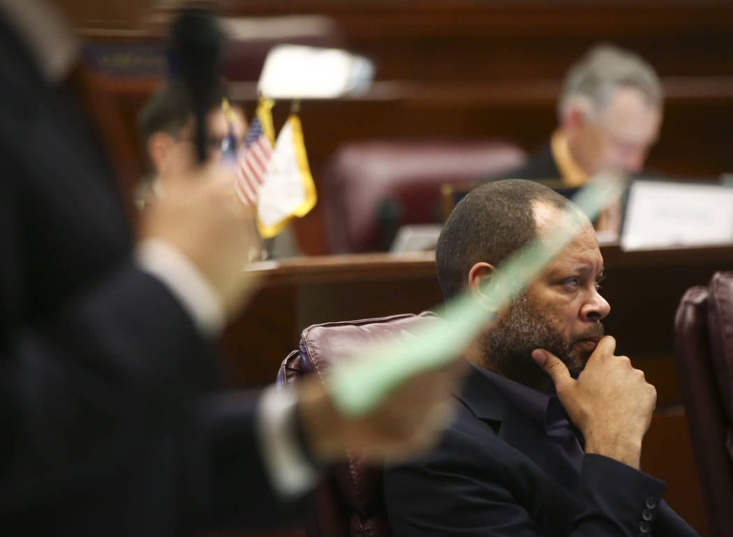 Senate Majority Leader Aaron Ford, D-Las Vegas, during the second to last day of the Nevada Legislature at the Legislative Building in Carson City on Sunday, June 4, 2017. Chase Stevens Las Vegas  ...