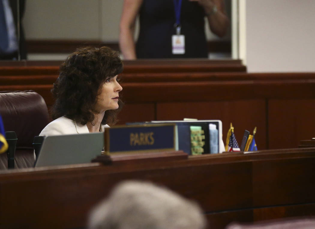 Sen. Heidi Ganset, R-Reno, during the second to last day of the Nevada Legislature at the Legislative Building in Carson City on Sunday, June 4, 2017. Chase Stevens Las Vegas Review-Journal @csste ...