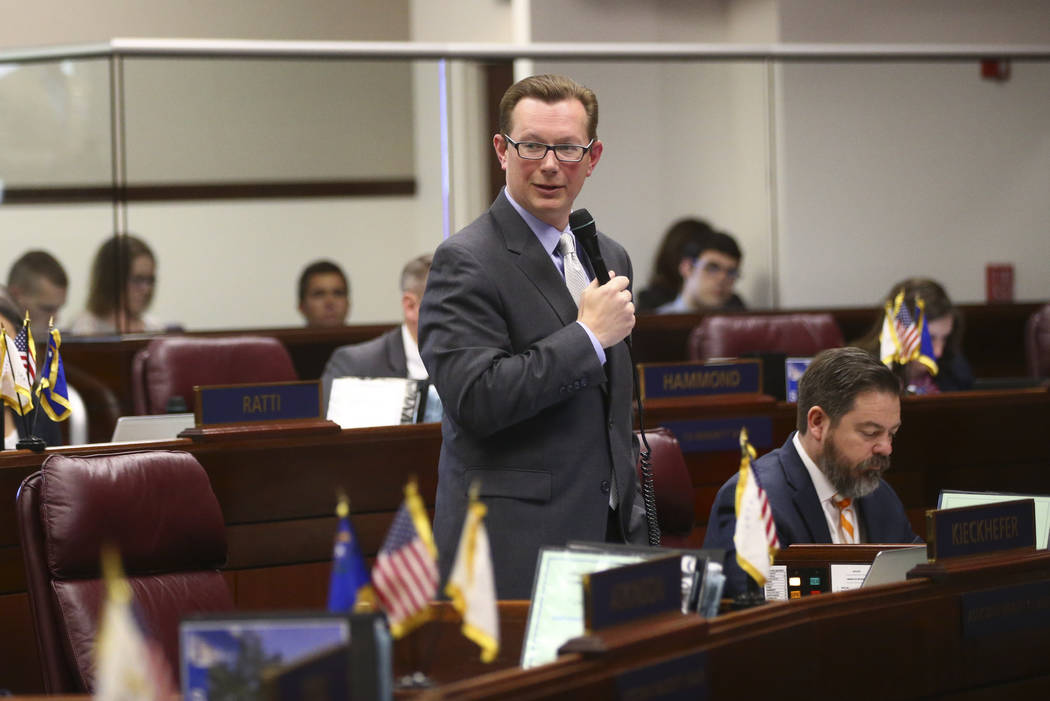 Sen. Ben Kieckhefer, R-Reno, during the second to last day of the Nevada Legislature at the Legislative Building in Carson City on Sunday, June 4, 2017. Chase Stevens Las Vegas Review-Journal @css ...