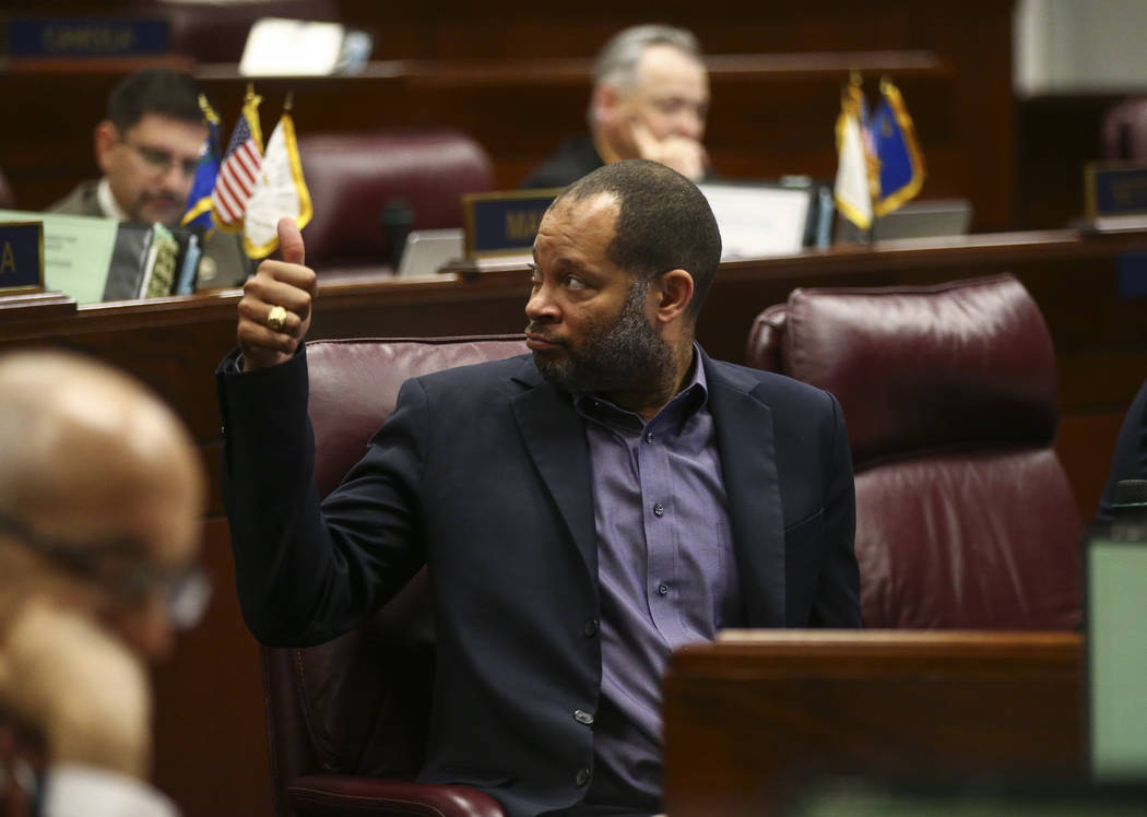 Senate Majority Leader Aaron Ford, D-Las Vegas, during the second to last day of the Nevada Legislative session at the Legislative Building in Carson City on Sunday, June 4, 2017. Chase Stevens La ...