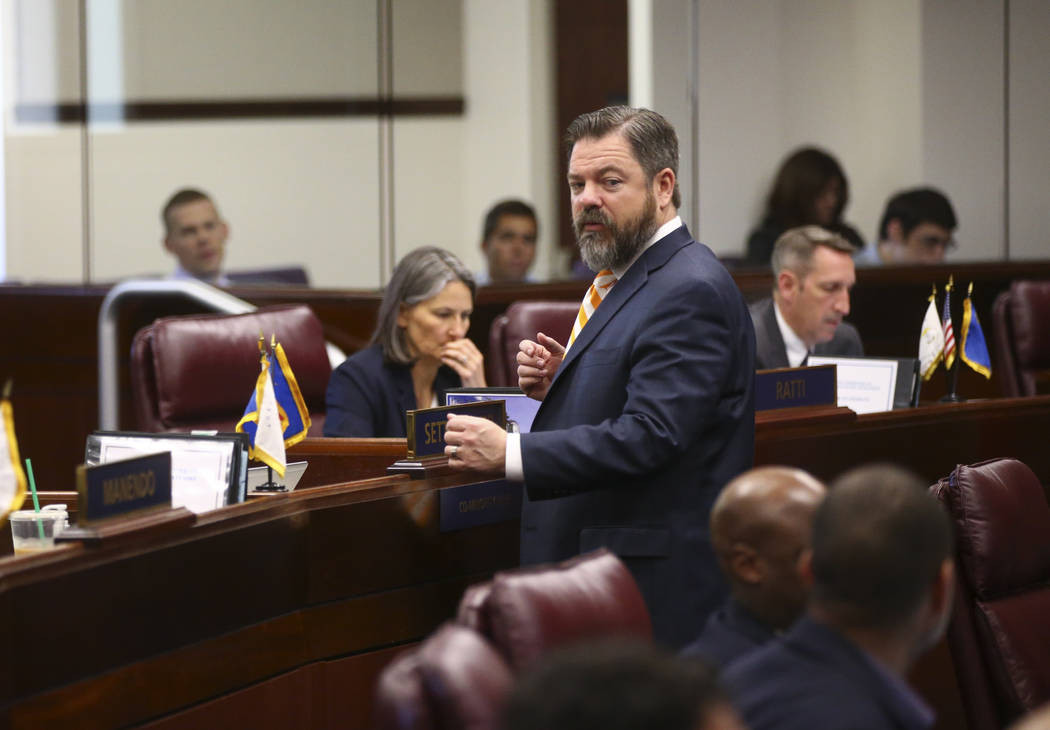 Senate Minority Leader Michael Roberson, R-Henderson, during the second to last day of the Nevada Legislature at the Legislative Building in Carson City on Sunday, June 4, 2017. Chase Stevens Las  ...