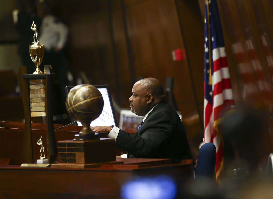 Assembly Speaker Jason Frierson, D-Las Vegas, during the second to last day of the Nevada Legislature at the Legislative Building in Carson City on Sunday, June 4, 2017. Chase Stevens Las Vegas Re ...