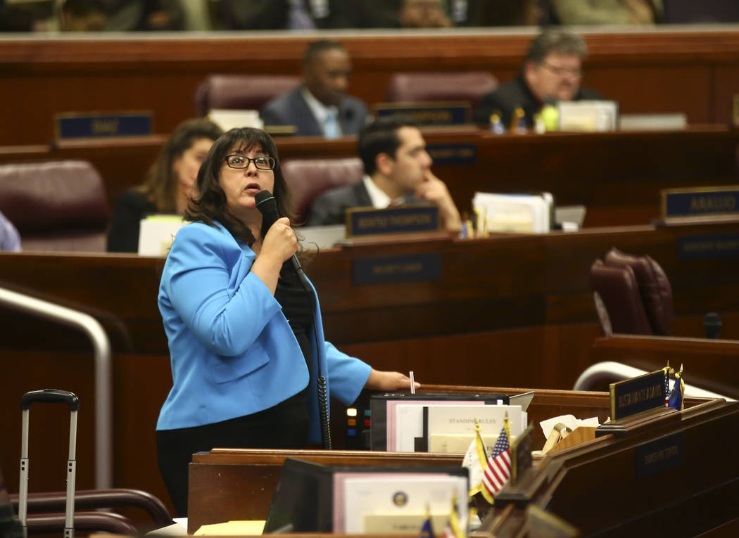 Assemblywoman Irene Bustamante Adams, D-Las Vegas, during the second to last day of the Nevada Legislature at the Legislative Building in Carson City on Sunday, June 4, 2017. Chase Stevens Las Veg ...