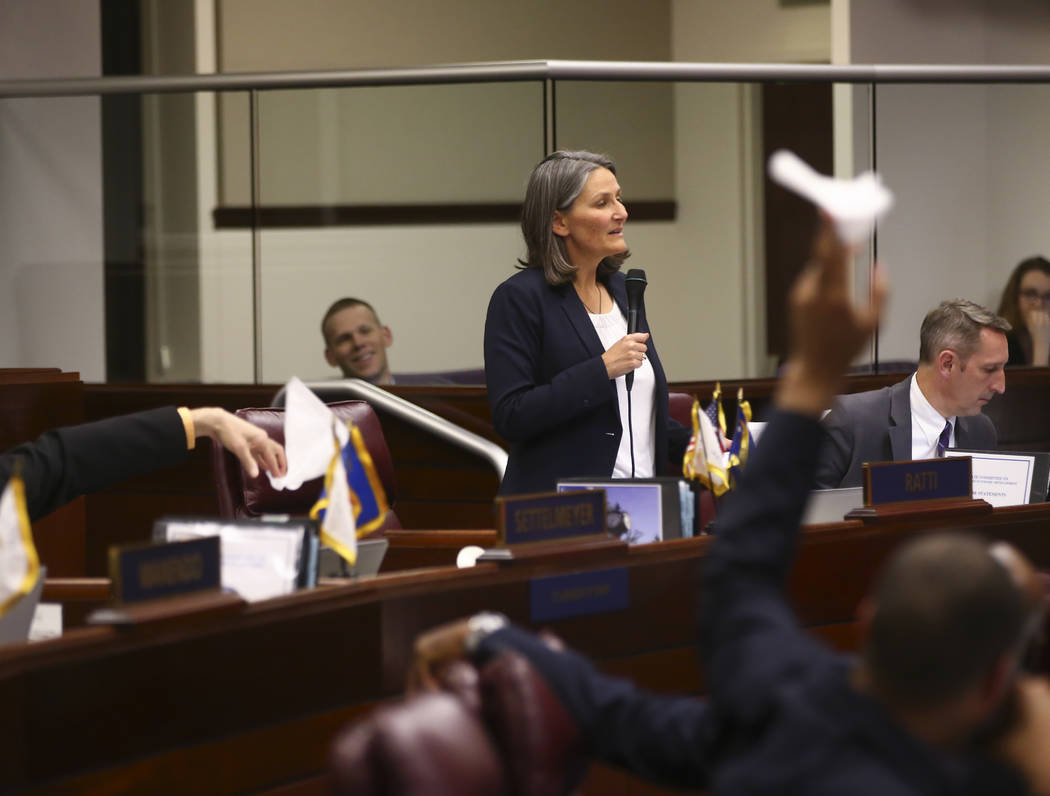 Sen. Julia Ratti, D-Sparks, talks about Senate Bill 487 during the second to last day of the Nevada Legislature at the Legislative Building in Carson City on Sunday, June 4, 2017. Chase Stevens La ...