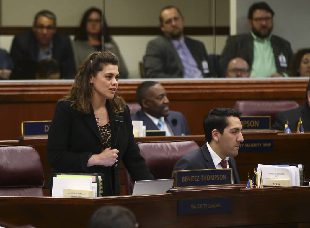 Assembly Majority Floor Leader Teresa Benitez-Thompson, D-Reno, during the second to last day of the Nevada Legislature at the Legislative Building in Carson City on Sunday, June 4, 2017. Chase St ...