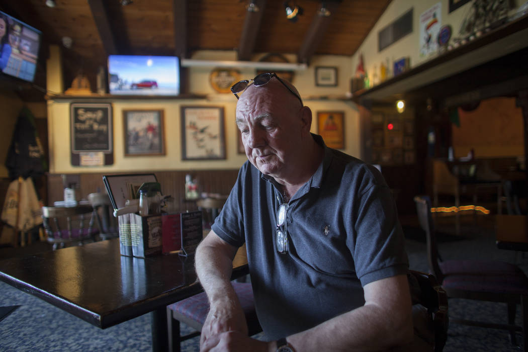 Brian Jopson speaks to the Review-Journal on Sunday, June 4, 2017, about the recent terrorist attacks in London at the Crown & Anchor British Pub on Tropicana in Las Vegas. Jopson is from Engl ...