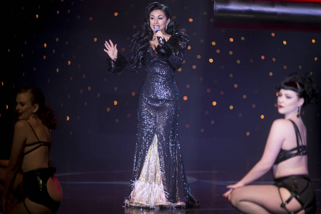 """Las Vegas's own Melody Sweets makes a special guest performance during the """"Tournament of Tease"""" in part of the Burlesque Hall of Fame Weekender at the Orleans Showroom in Orleans hotel-casino on  ..."""