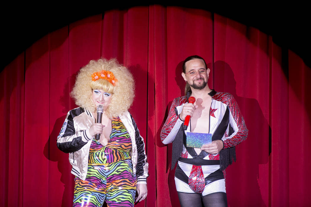 "Blanche DeBris, left, and Jonny Porkpie, right, host the ""Tournament of Tease"" in part of the Burlesque Hall of Fame Weekender at the Orleans Showroom in Orleans hotel-casino on Saturday, June 3,  ..."