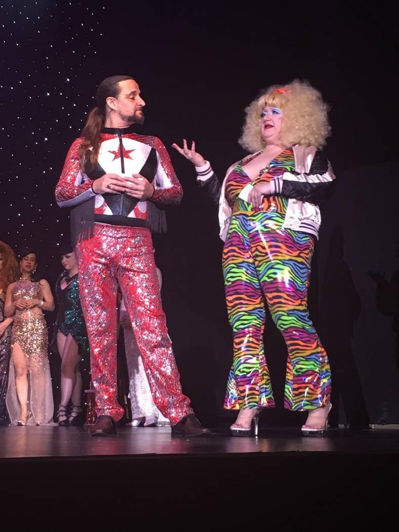 Jonny Porkpie and Blanch De Bris swap banter during the Miss Exotic World competition at Orleans Showroom on Saturday, June 3, 2017. (John Katsilometes/Las Vegas Review-Journal) @JohnnyKats