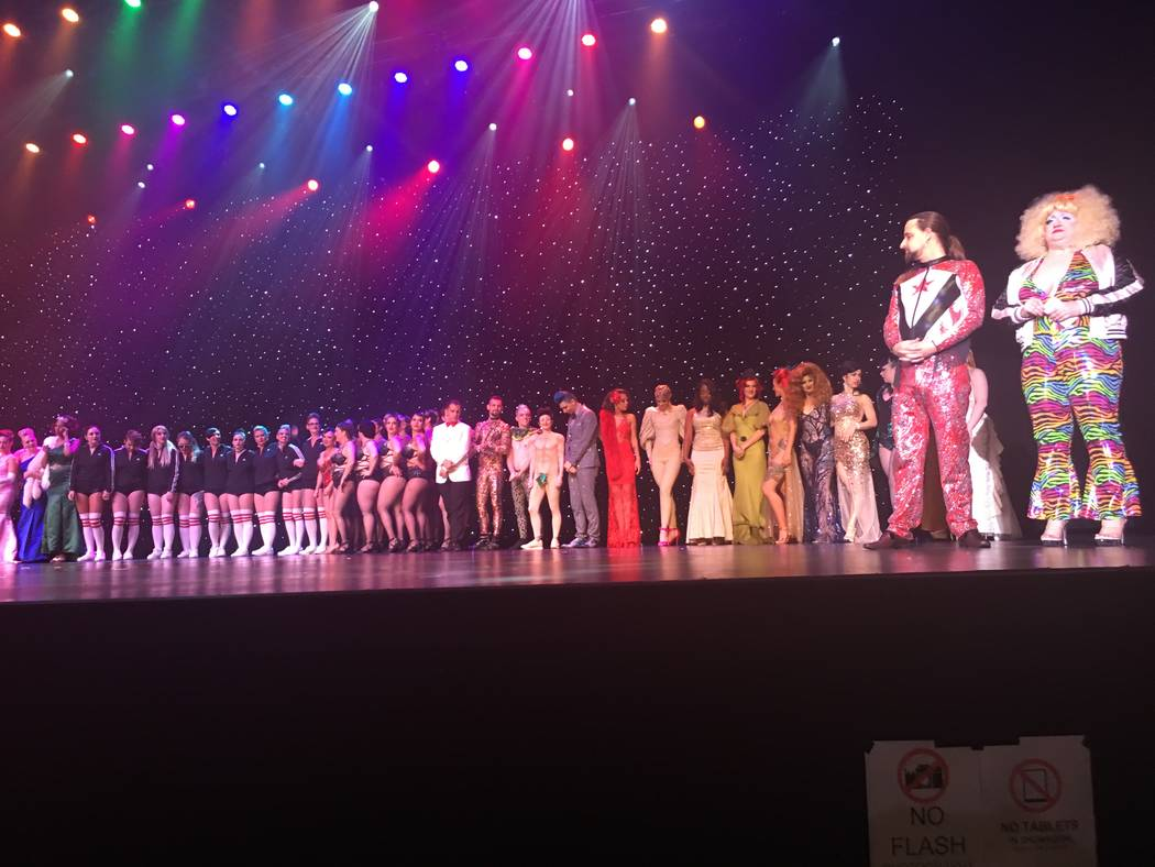 Jonny Porkpie and Blanch De Bris, far right, are shown with a lineup of the contestants at the Miss Exotic World competition at Orleans Showroom on Saturday, June 3, 2017. (John Katsilometes/Las V ...