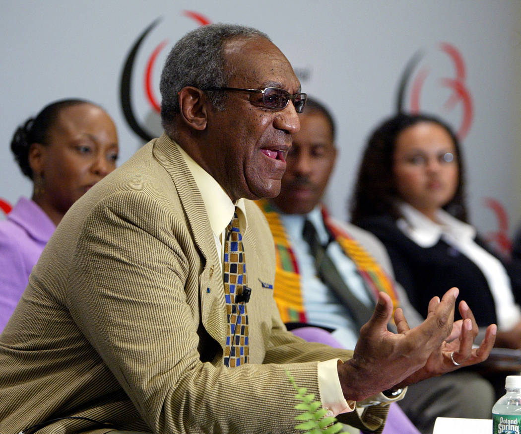 FILE - In this Sept. 8, 2004 file photo, Bill Cosby addresses a gathering at the 34th Annual Legislative Conference of the Congressional Black Caucus Foundation in Washington. Bill Cosby doesn't p ...
