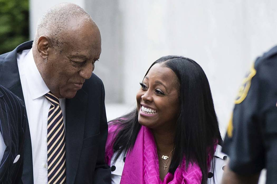 Bill Cosby arrives for his sexual assault trial with Keshia Knight Pulliam, right, at the Montgomery County Courthouse in Norristown, Pennsylvania, Monday, June 5, 2017. (Matt Rourke/AP)
