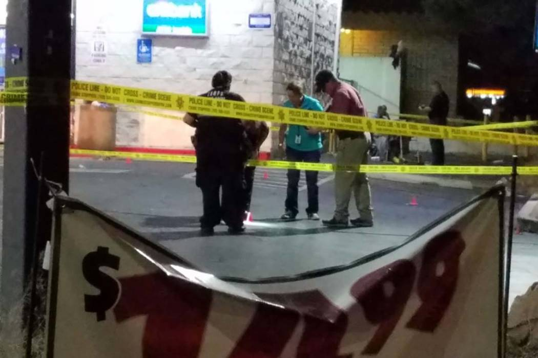 A stabbing early Tuesday morning at a 7-Eleven at 998 E. Sierra Vista Drive resulted in the death of one person.  (Mike Shoro/Las Vegas Review-Journal)