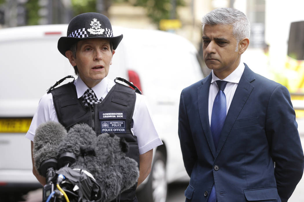 London Police Commissioner Cressida Dick, left, and the Mayor of London Sadiq Khan participate in a media conference at London Bridge in London, Monday, June 5, 2017. (Alastair Grant/AP)