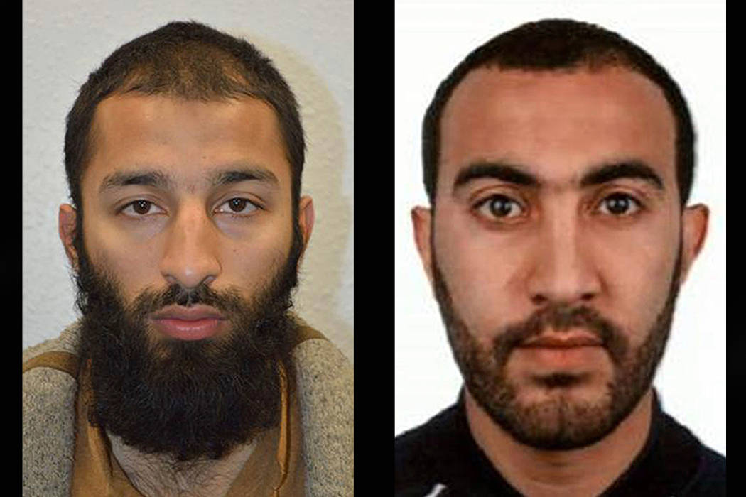 Police have named Khuram Shazad Butt and Rachid Redouane suspects in the  London Bridge attack. (Metropolitan Police via AP)