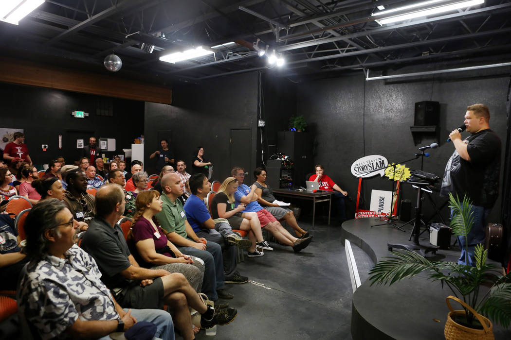 Member of the local chapter of Sunday Assembly John Laughlin shares his personal story during their gathering at the Center for Science and Wonder in Las Vegas, June 4, 2017.  Elizabeth Brumley/La ...