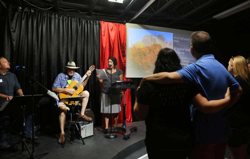 Songs are sung during the local chapter of Sunday Assembly during their gathering at the Center for Science and Wonder in Las Vegas, Sunday, June 4, 2017.  Elizabeth Brumley/Las Vegas Review-Journal